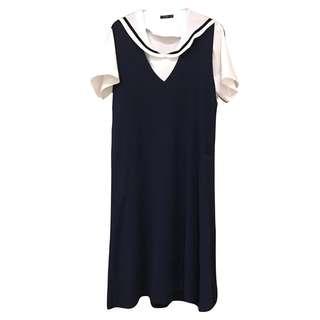 PAZZO 💙洋裝 💙水手服 水手領 學院風 襯衫 針織洋裝 套裝