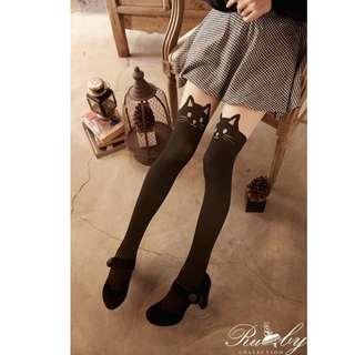 【台灣代購】Ruby's Collecton 俏皮野貓.大腿透膚貓咪圖案黑絲襪