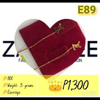 Gold Dangling Earrings - LV Design