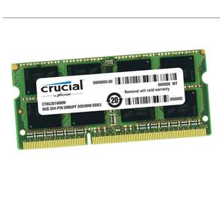 (二手) 98%NEW Crucial 204-pin SODIMM DDR3 8G 1600 記憶體