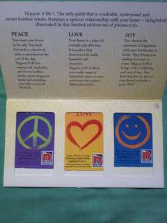 Limited Edition Nippon Paint Love Peace & Joy Phone Card Set