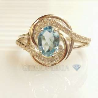 Silver ring 925 with blue topaz