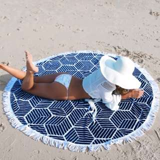 Blue Crochet Round Beach Towel