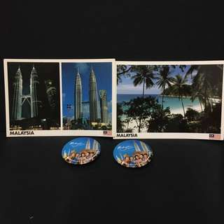 Malaysia postcards + badges 5cm
