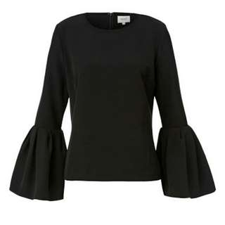 Seed Black Flare Sleeve Top Size 10