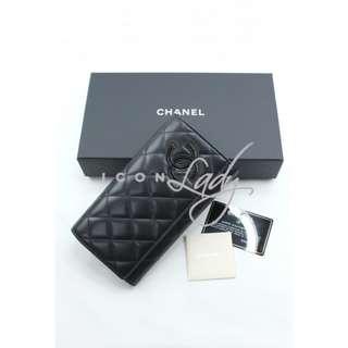 CHANEL A80212 黑色小羊皮 黑色漆皮CC Logo 長銀包 錢包