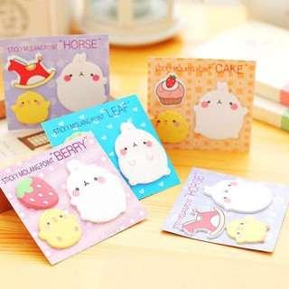 Cute Molang Korean Rabbit Post-Its/ Sticker Notes!