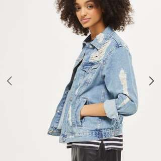TOPSHOP Mid Blue Extreme Ripped Denim Jacket