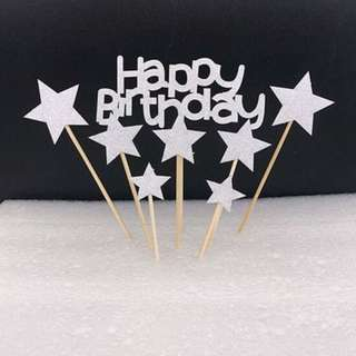 7pc Set Stars Happy Birthday Cake Topper Bunting Party Decoration