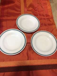 Plate with Green Borders (3pcs)