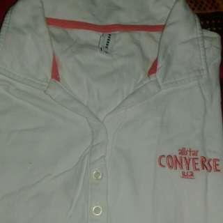 Kaos polo converse warna putih bersih