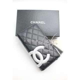 CHANEL A26717 Cambon 黑色小牛皮 銀色CC Logo 長銀包 (限量特別版)