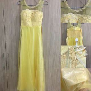 Long dress yellow colour