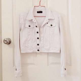 Pilgrim White Crop Denim Jacket