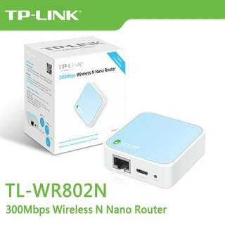 95% NEW TP-LINK TL-WR802N WIRELESS N NANO ROUTER TRAVEL 連原裝盒