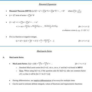 Detailed summary notes for H2 math (from HCI)