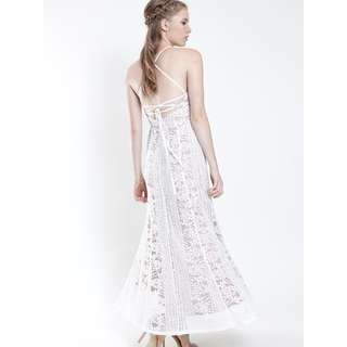 VGY Althea Strappy Back 3D Lace Maxi Dress