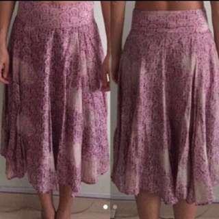 Mango satin skirt purple