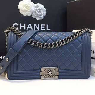 Authentic Chanel Boy Medium Flap Bag Navy
