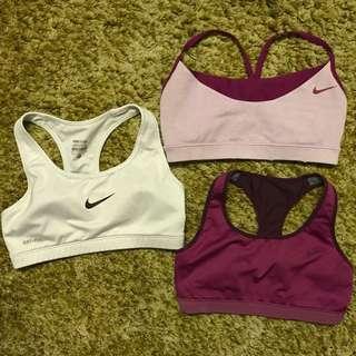 3 pcs of Nike sports bras (size S)
