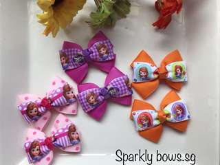 Handmade Grosgrain Ribbon Princess Sofia hair clip/ hairclip/ hairtie/ hairbow/ Hair Bow/ Hair tie/ toddler/ girls