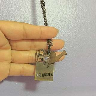 """Blessed"" Brass Earrings and Necklace"