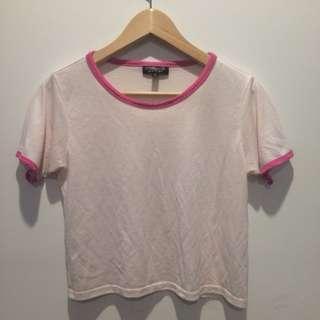 Topshop pink t-shirt crop