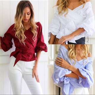 PO Long sleeve blouse with ribbon