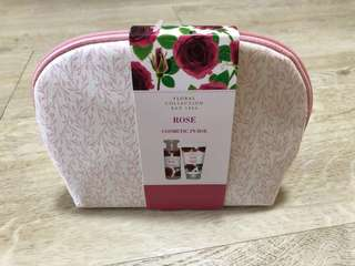 M&S cosmetic purse with rose bath & shower cream