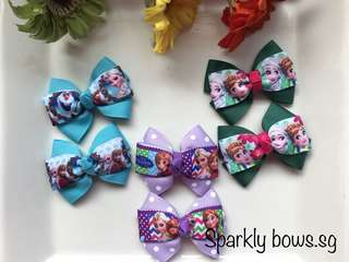 Handmade Grosgrain Ribbon Frozen Princess Anna and Elsa hairbow/ hair bow/ hair clip/ hairclip/ hairtie/ Hair tie/ toddler/ girls/ Frozen fever