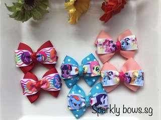Handmade Grosgrain Ribbon My Little Pony Hair Bow/ hair clip/ hairbow/ hairclip/ hairtie/ Hair tie/ toddler/ girls/ MLP