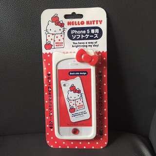 [包平郵] Hello Kitty iphone 5 Case 保護殼連按鈕貼紙套裝