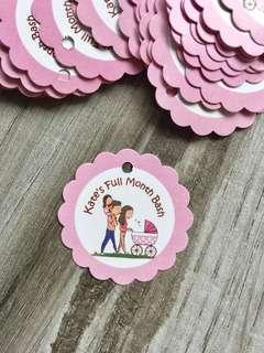 30pc Girl Full Month Gift Tags - Custom Wordings