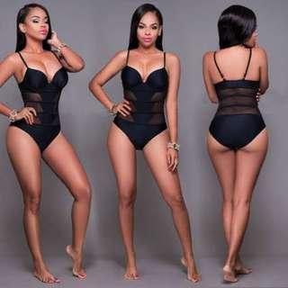 性感女裝拼接網紗連體泳衣/Sexy women's splicing mesh one-piece swimsuit