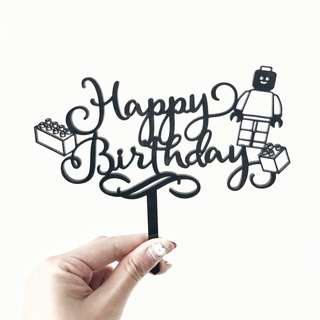 READY STOCK!! Black Lego Happy Birthday Cake Topper