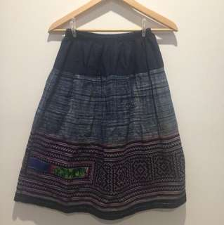Knee length embroidered patterned skirt