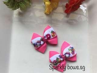 Handmade Grosgrain Ribbon Shopkins Hair Bow/ hair clip/ hairbow/ hairclip/ hairtie/ Hair tie/ girls/ toddler