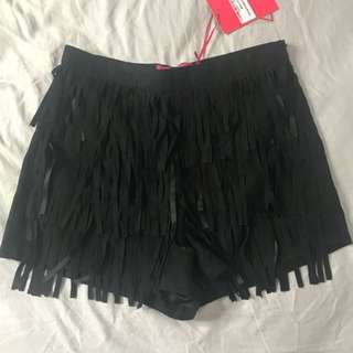 NEW Suede Tassel Shorts Size 10