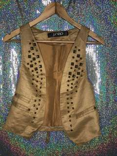 Studded faux leather vest brown