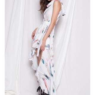 Young Hungry Free  ABSTRACT DRESS IN WHITE