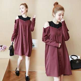 (XL~5XL) Spring new strapless stitching single breasted striped shirt dress