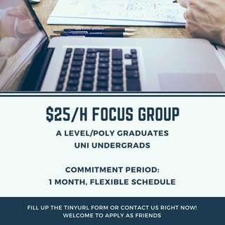 $25/h FOCUS GROUP [FOR A LEVEL/POLY GRADUATES]