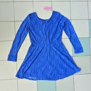 Blue Peplum Lace Dress
