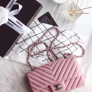 CHANEL 粉色v紋 頂級