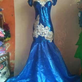 Longdress biru sequin