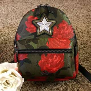 Coach Mini Charlie Backpack with Camo Rose Floral Print Blush Multi