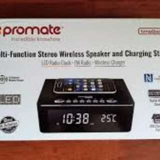 Promate Multi-Function Stereo Wireless Speaker and Charging Station 無線充電 FM收音機 USB充電 鬧鐘