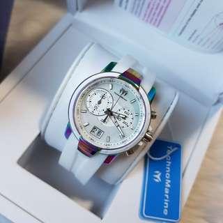 Authentic TechnoMarine Women's Uf6 White Silicone Band Steel Case Quartz Watch Tm-615021, 38mm