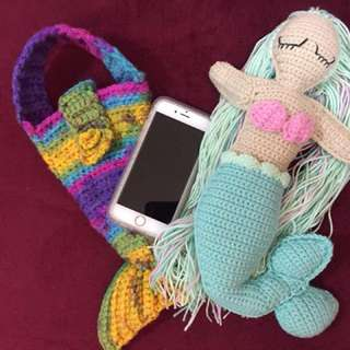 Crocheted Mermaid Phone Pouch