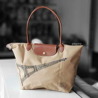 Authentic Longchamp Le Pliage Long Handle - Eiffel Tower